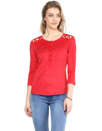 Buy Red Suede Front Button Top