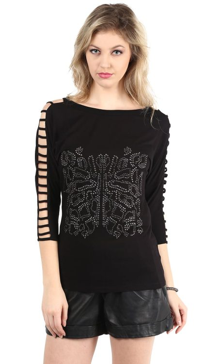 Buy Black Sleeve Cut-Out Front Embellishment Top