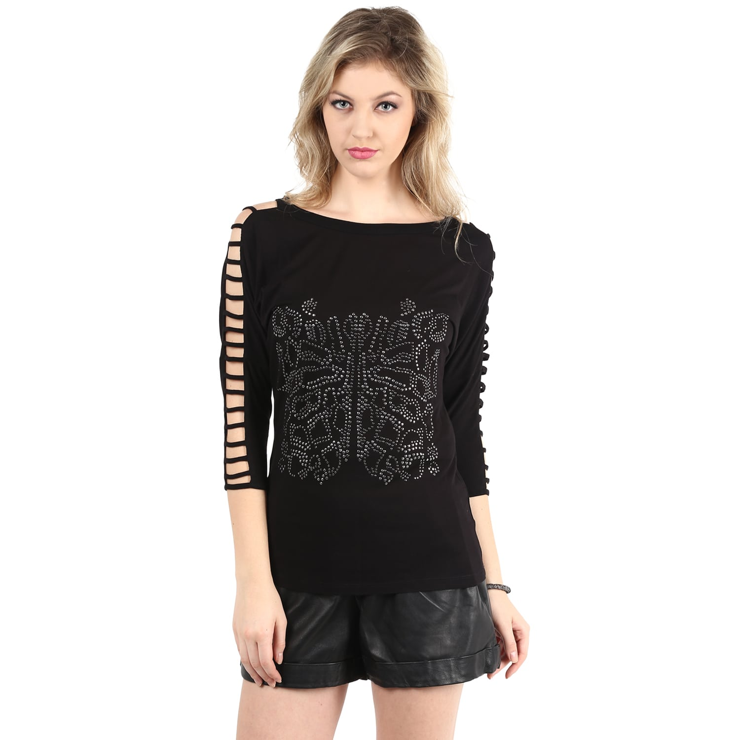 Black Sleeve Cut-Out Front Embellishment Top
