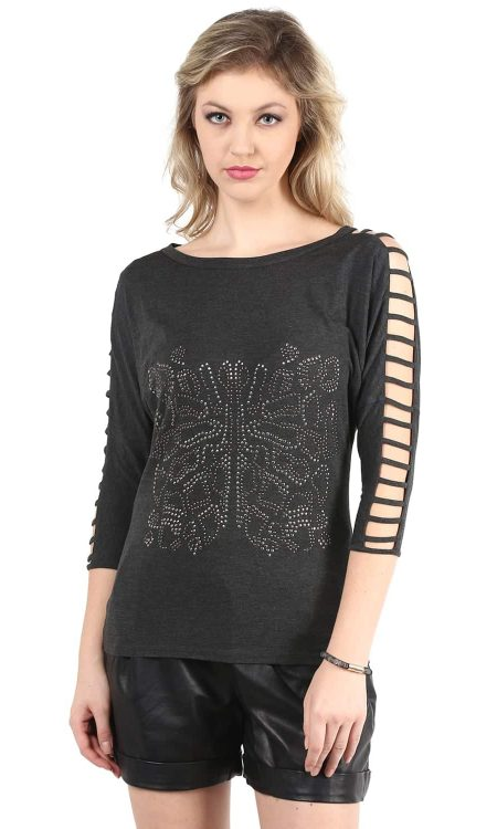 Buy Grey Sleeve Cut-Out Front Embellishment Top