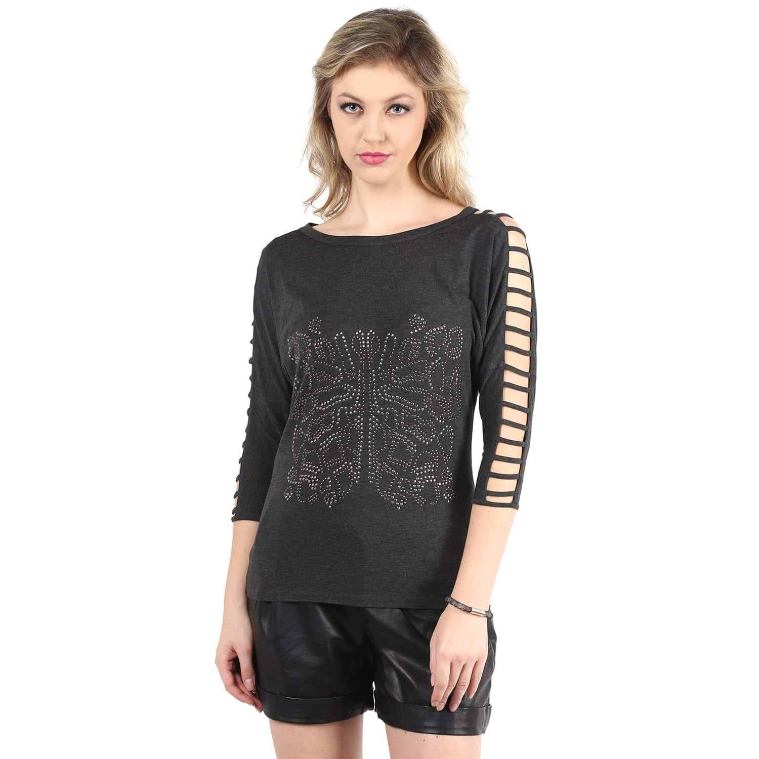 Grey Sleeve Cut-Out Front Embellishment Top