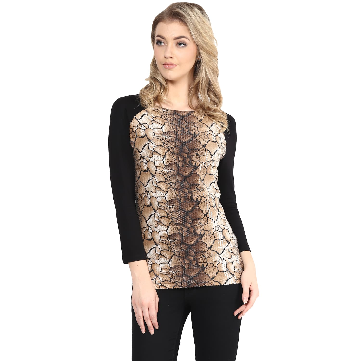 Brown Color Half Printed Sequin Top