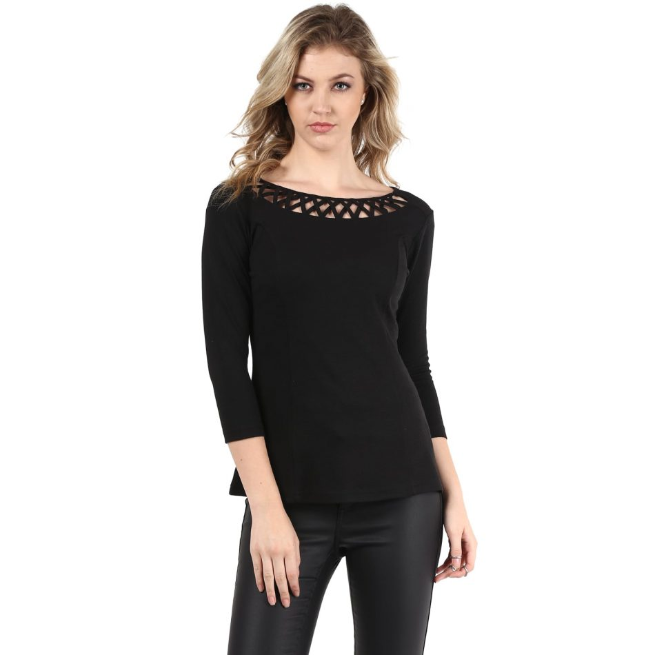 Buy black color jacquard neck detailing line top