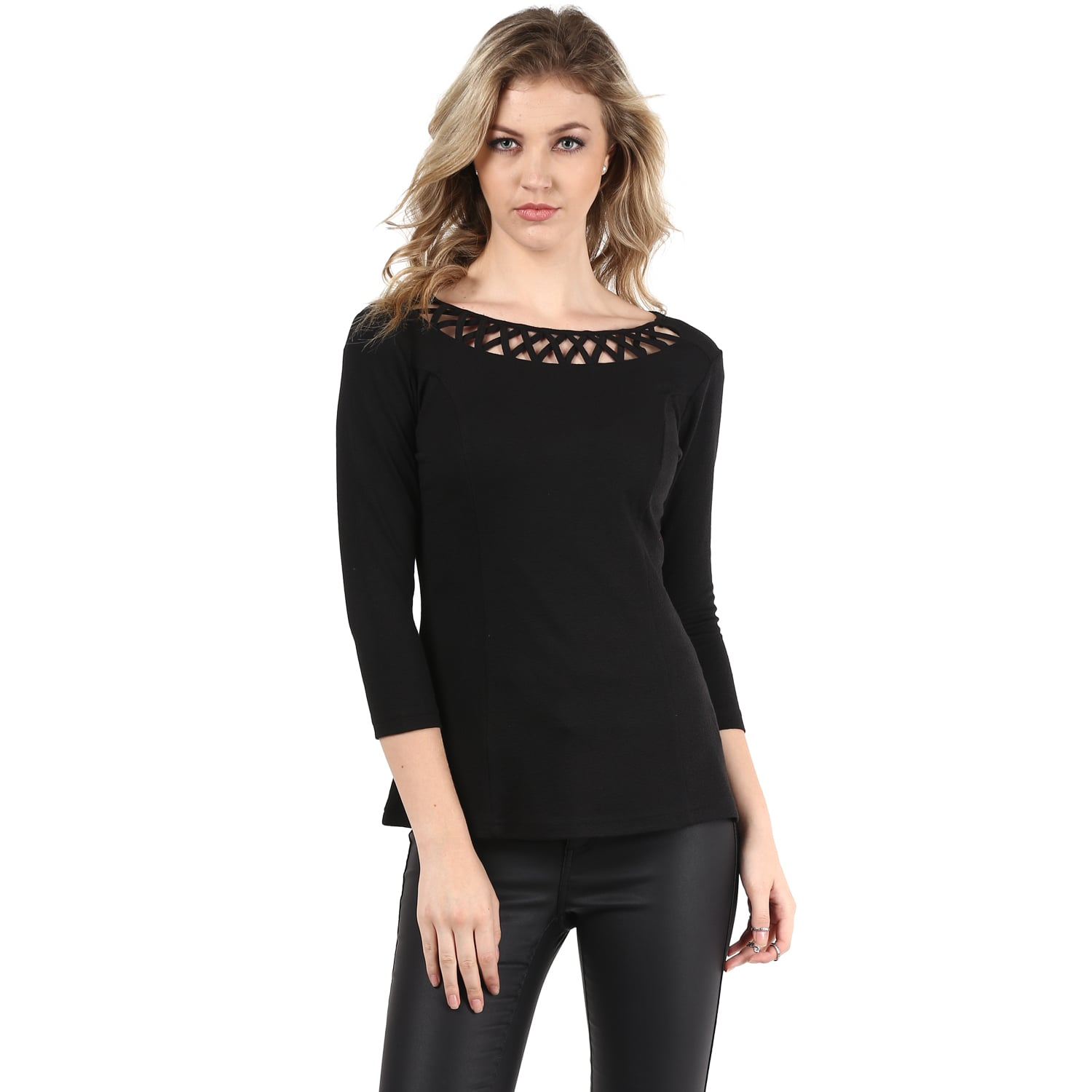 Black Jacquard Neck Detailing Line Top