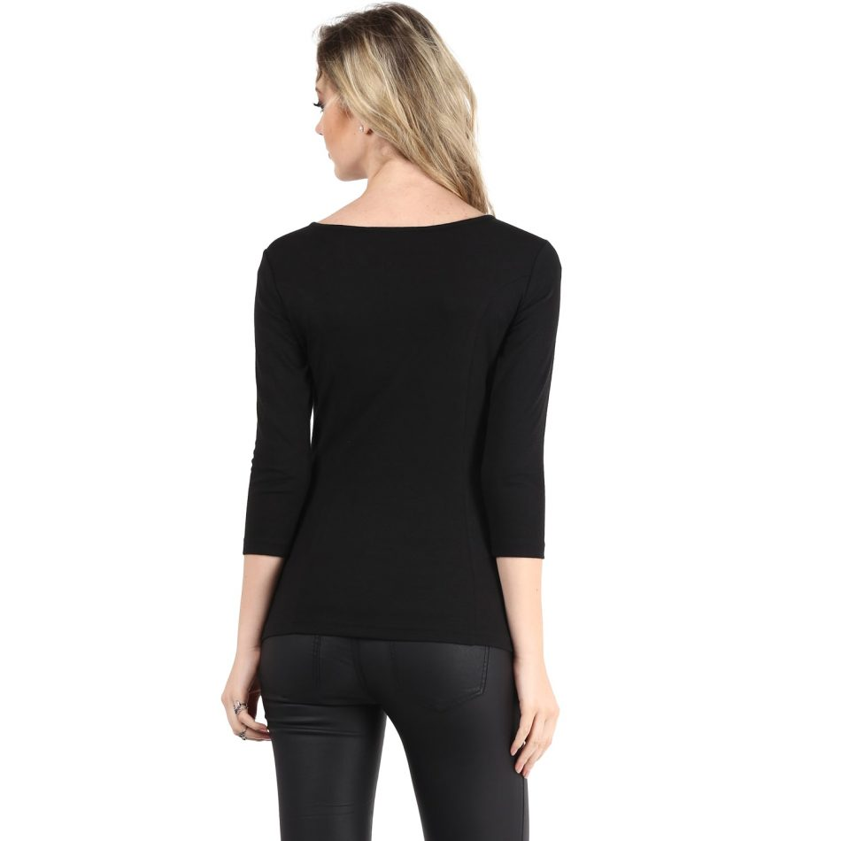 Affordable black color jacquard neck detailing line top
