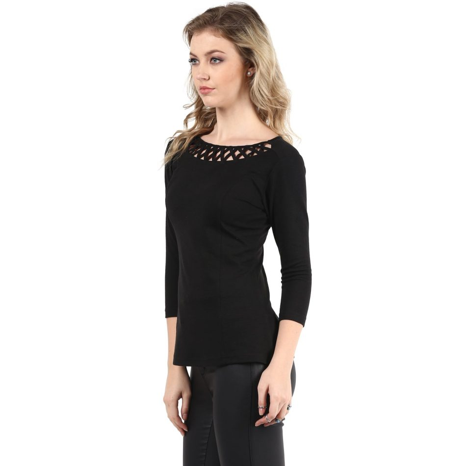 Black color jacquard neck detailing line top