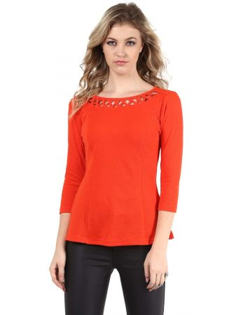 Buy red color jacquard neck detailing line top for women
