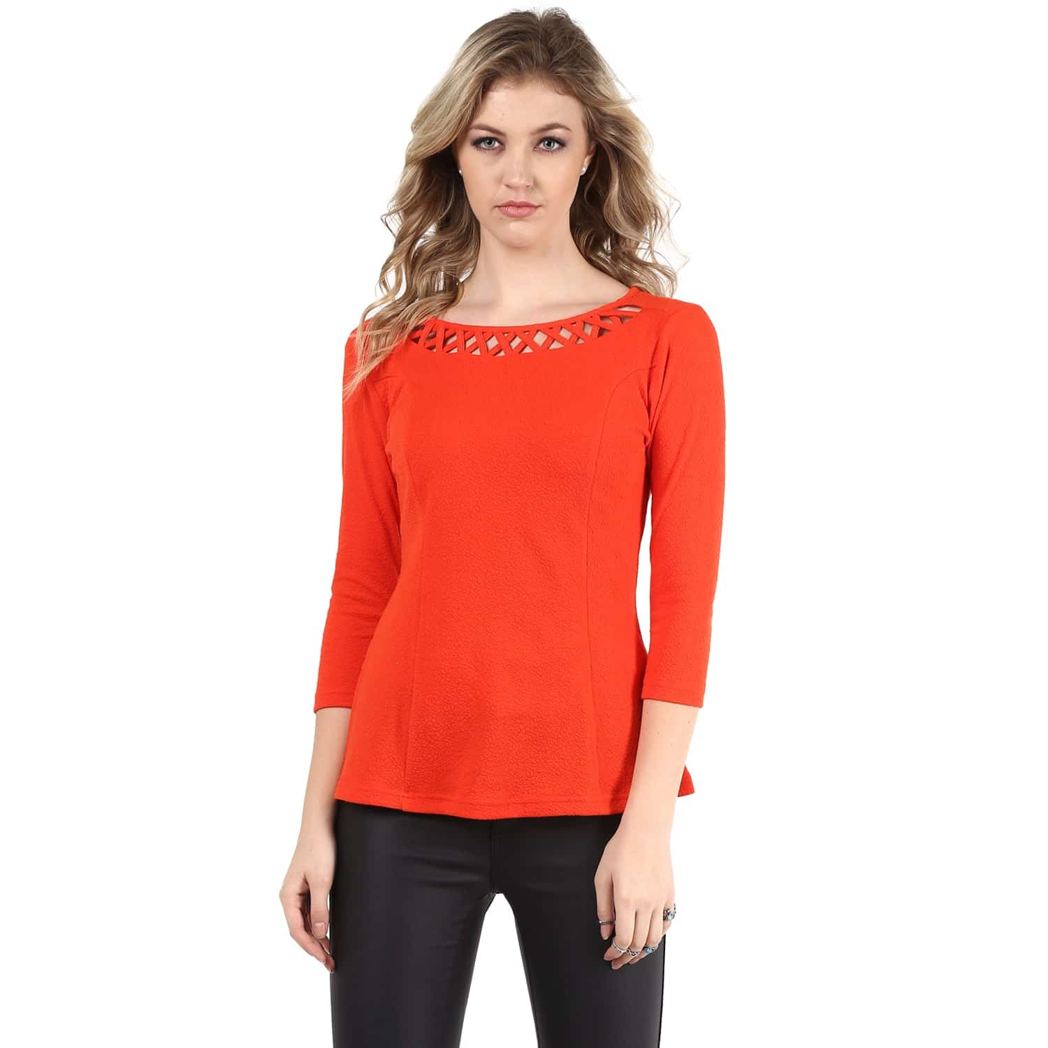 Red Jacquard Neck Detailing Line Top