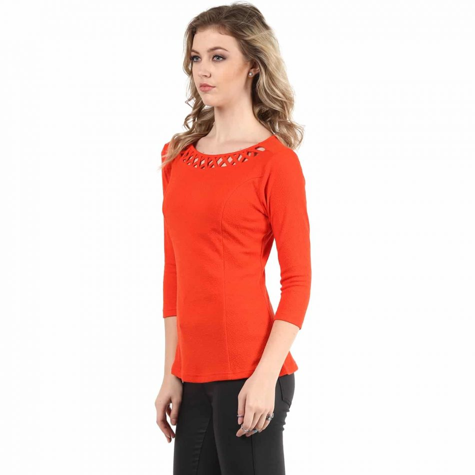 Red color neck detailing line top for women online in india