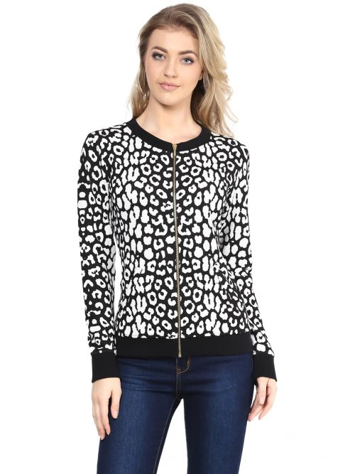 Buy black color animal print sweatshirt
