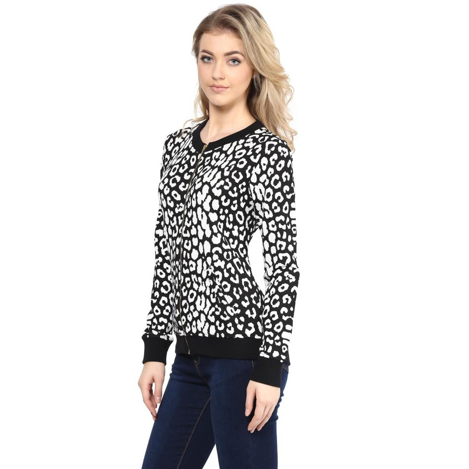 Black color animal print sweatshirt online in India