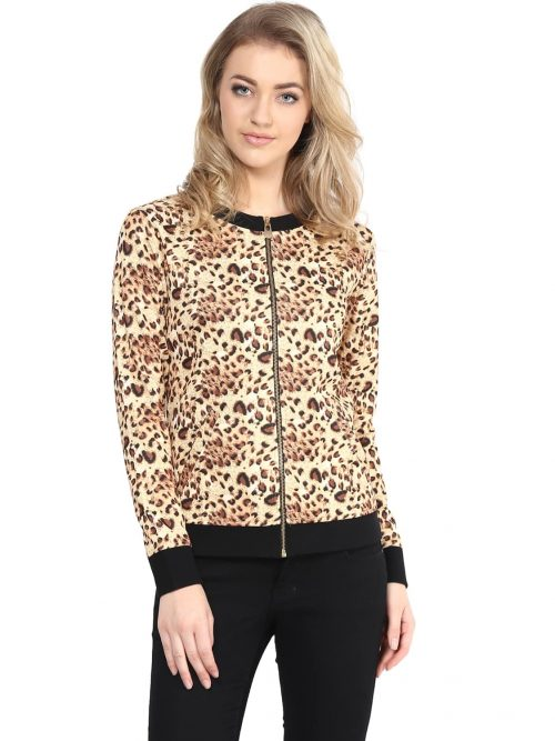 Buy brown color animal print sweatshirt