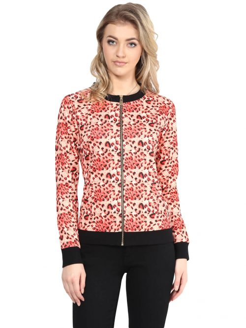 Buy red color animal print sweatshirt