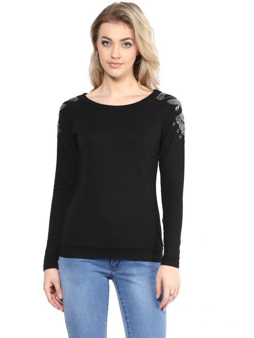 Buy Black Embellished Sweatshirts
