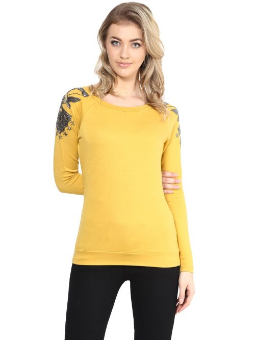 Buy Mustard Embellished Sweatshirts