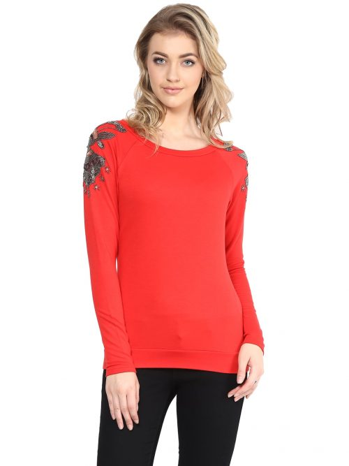Buy Red Embellished Sweatshirts