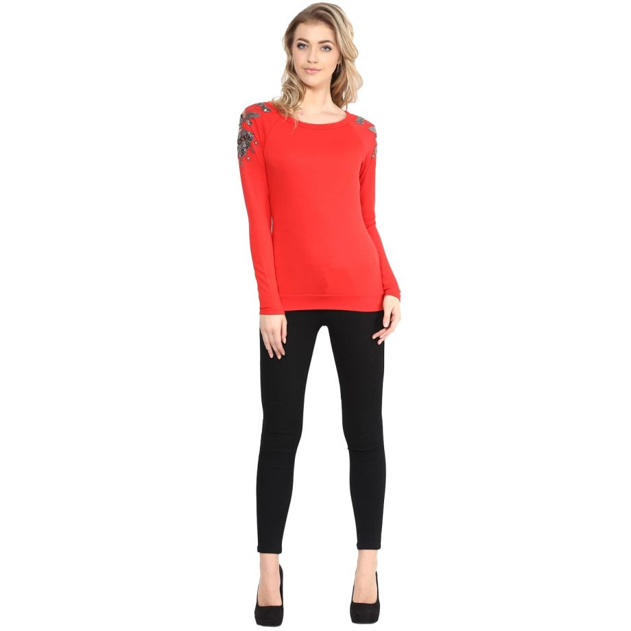 Red Embellished Sweatshirts online in India