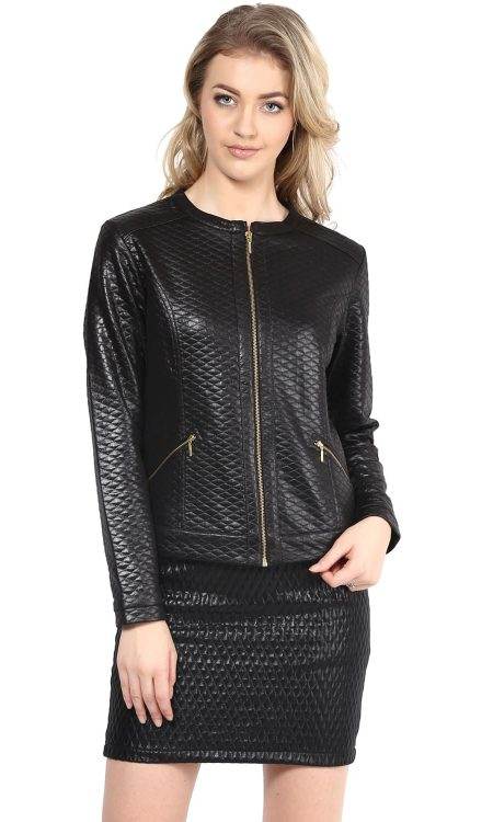 Buy black color leather women jacket