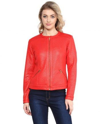 Buy red color leather women jacket