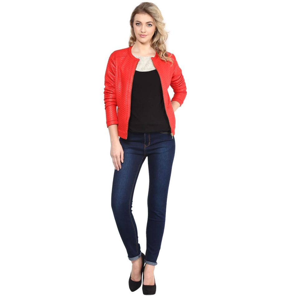 Online red color leather women jacket