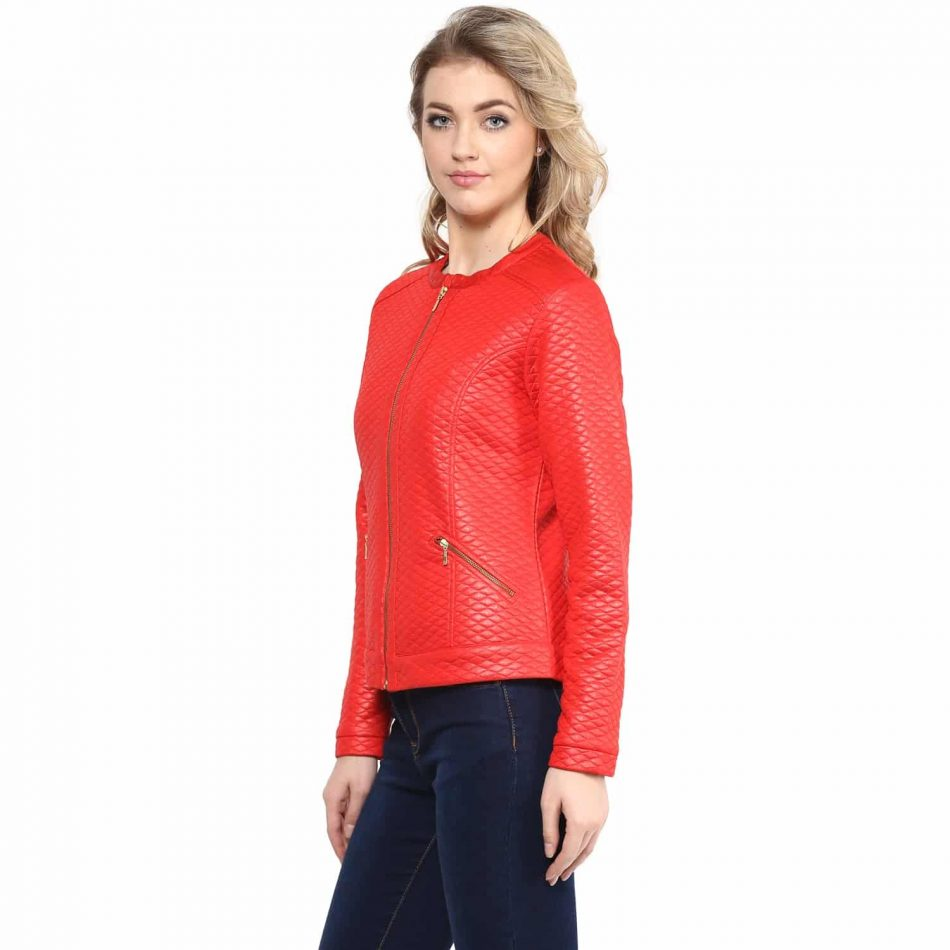 Red color leather women jacket online in noida