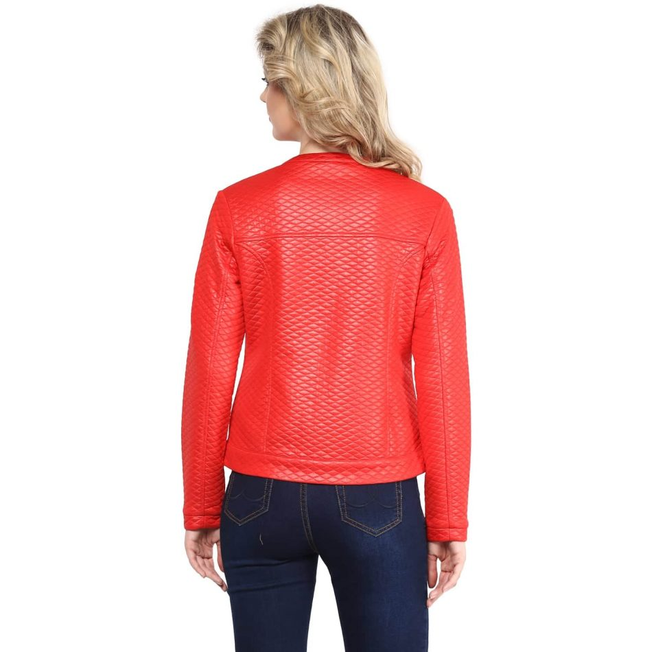 Affordabe price red color leather women jacket