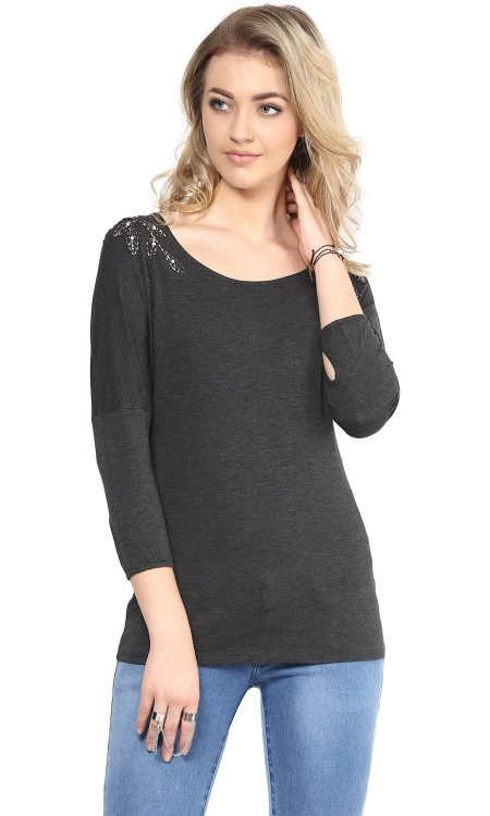 Buy grey color shoulder embellished top