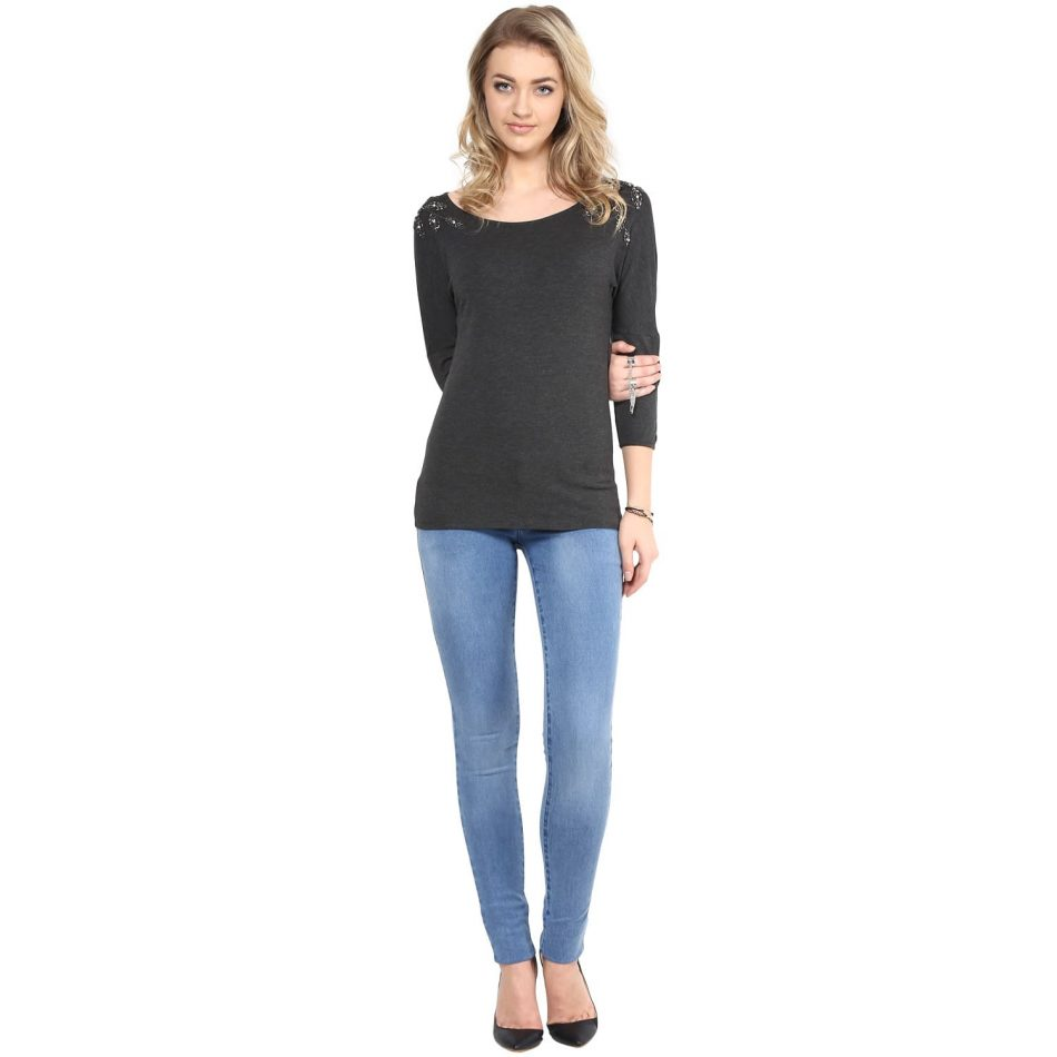 Shop for grey color shoulder embellished top