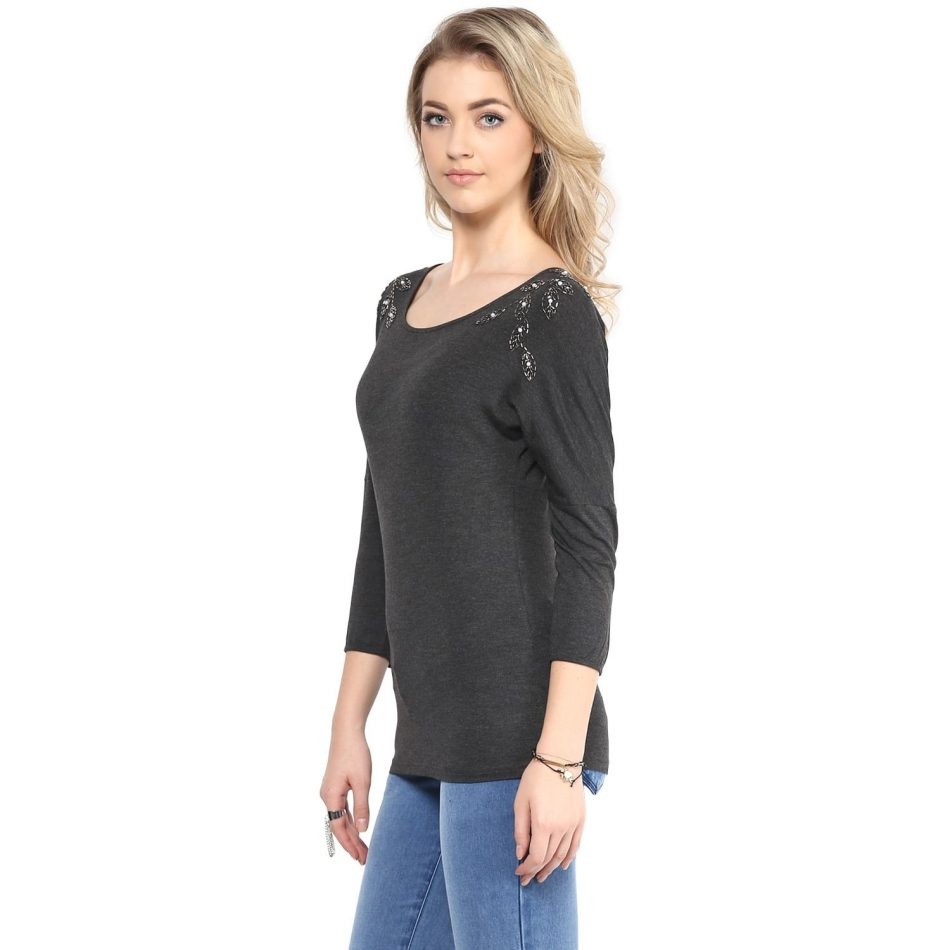 Affordable grey color shoulder embellished women top