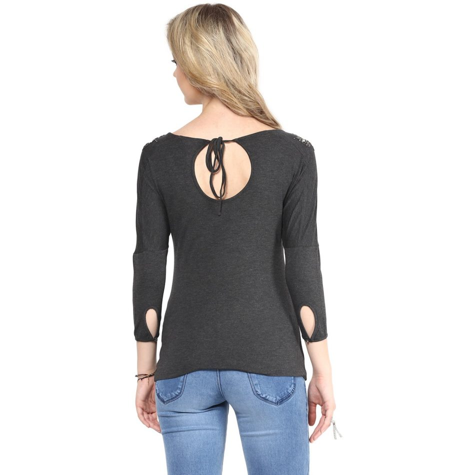Online grey color shoulder embellished women top