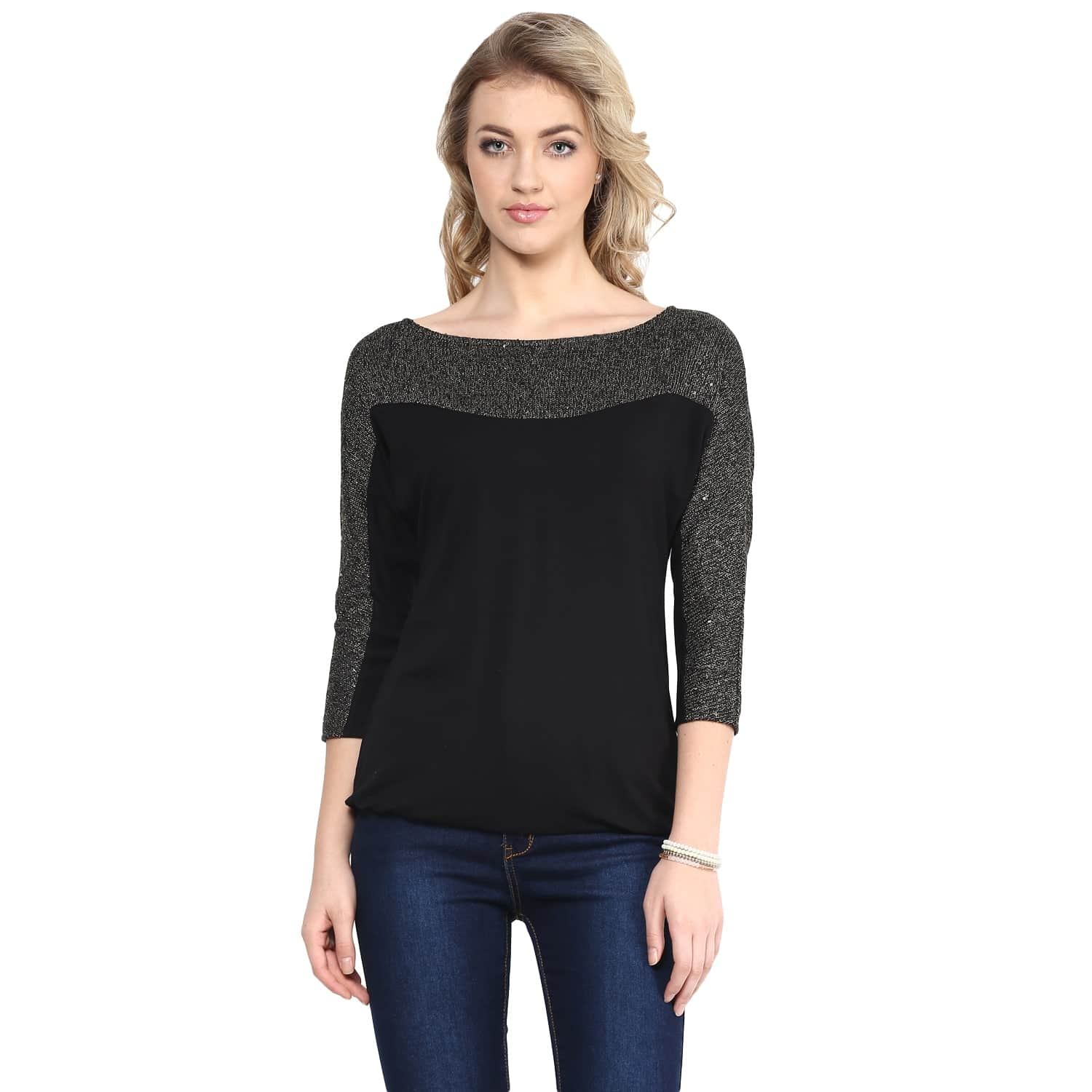 Black Colorblock Sweater Sequin Top