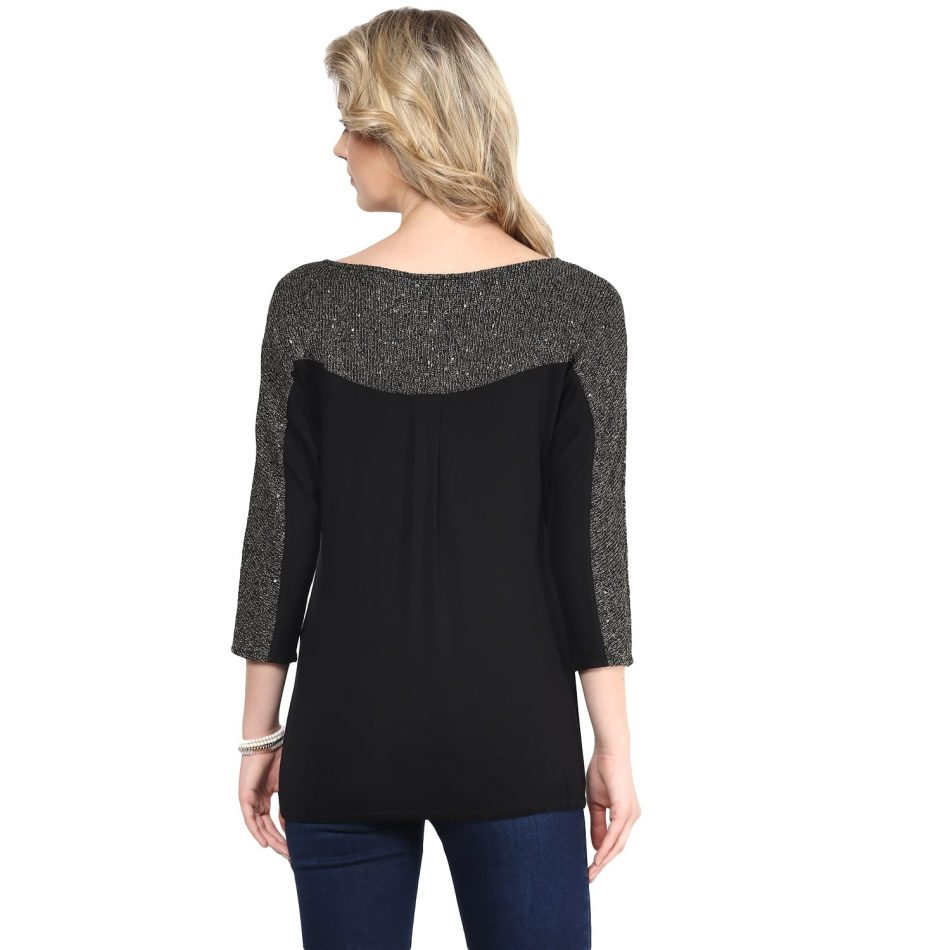 affordable black color sequin sweater top for women