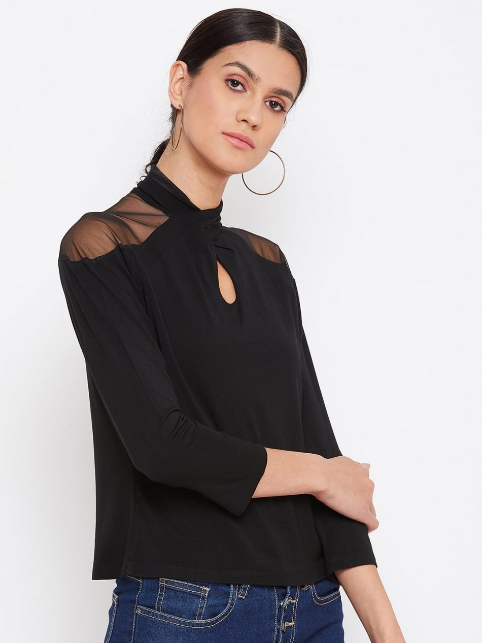 Affordable Black Color Vortex Twist Neck Top For Women