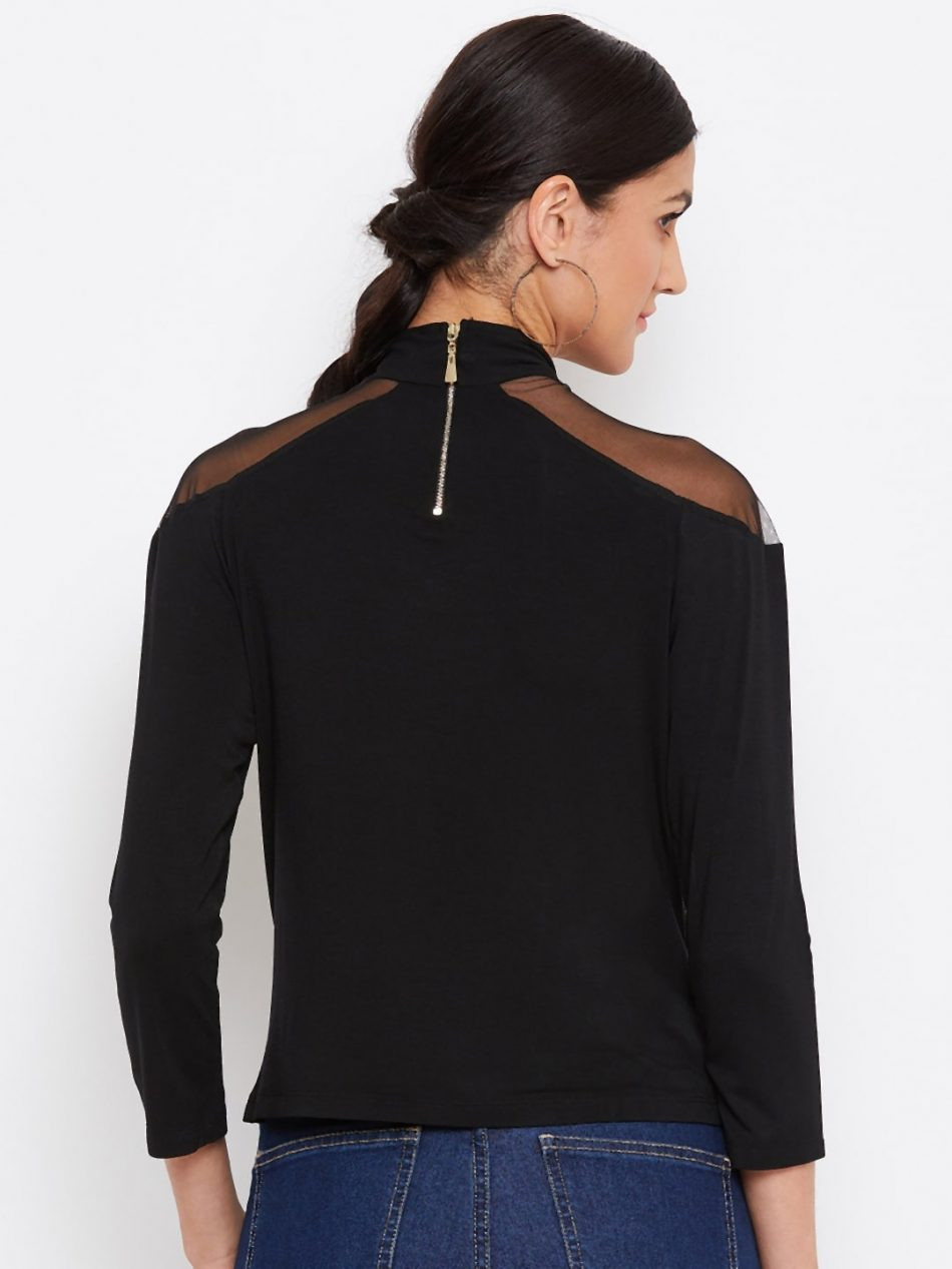Black Color Vortex Twist Neck Top