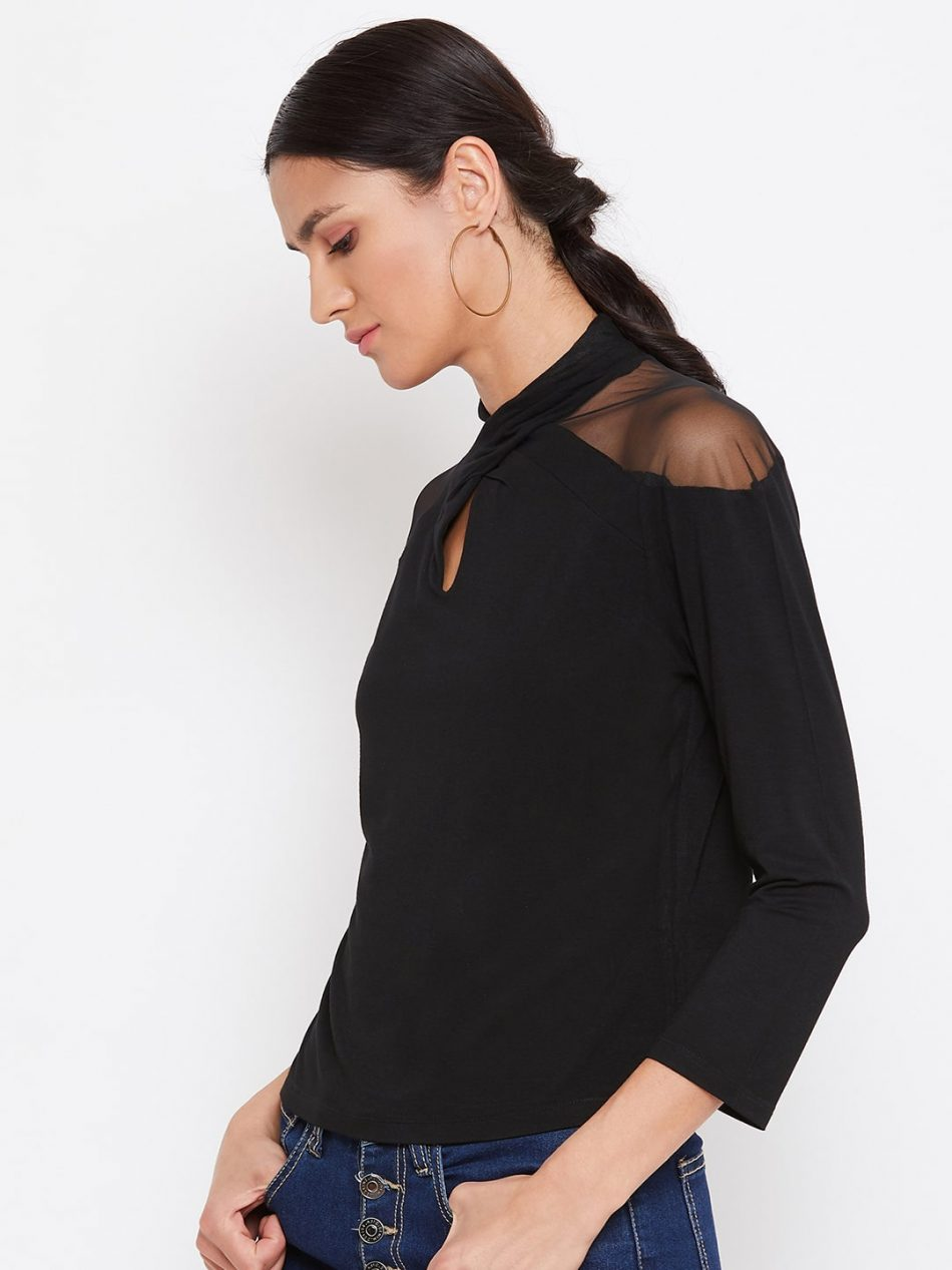 Black Color Vortex Twist Neck Top For Women