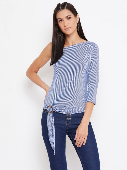 Blue Color Side Buckle Pinstripe One Off-shoulder Top