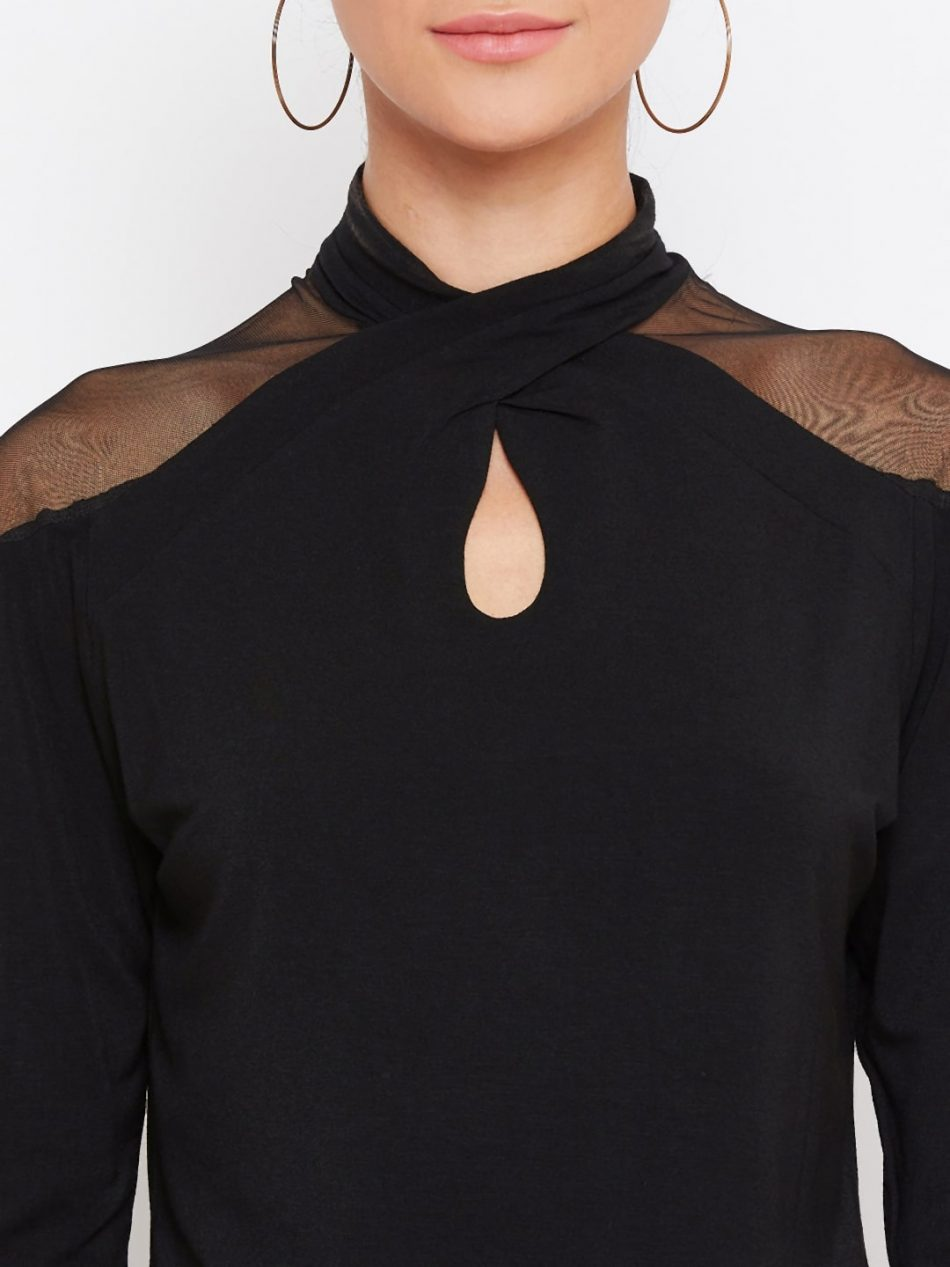 Buy Black Color Vortex Twist Neck Top