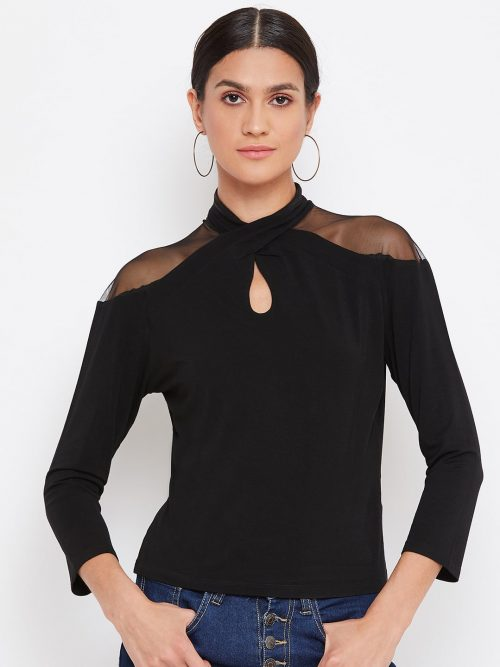 Buy  Black Color Vortex Twist Neck Top For Women