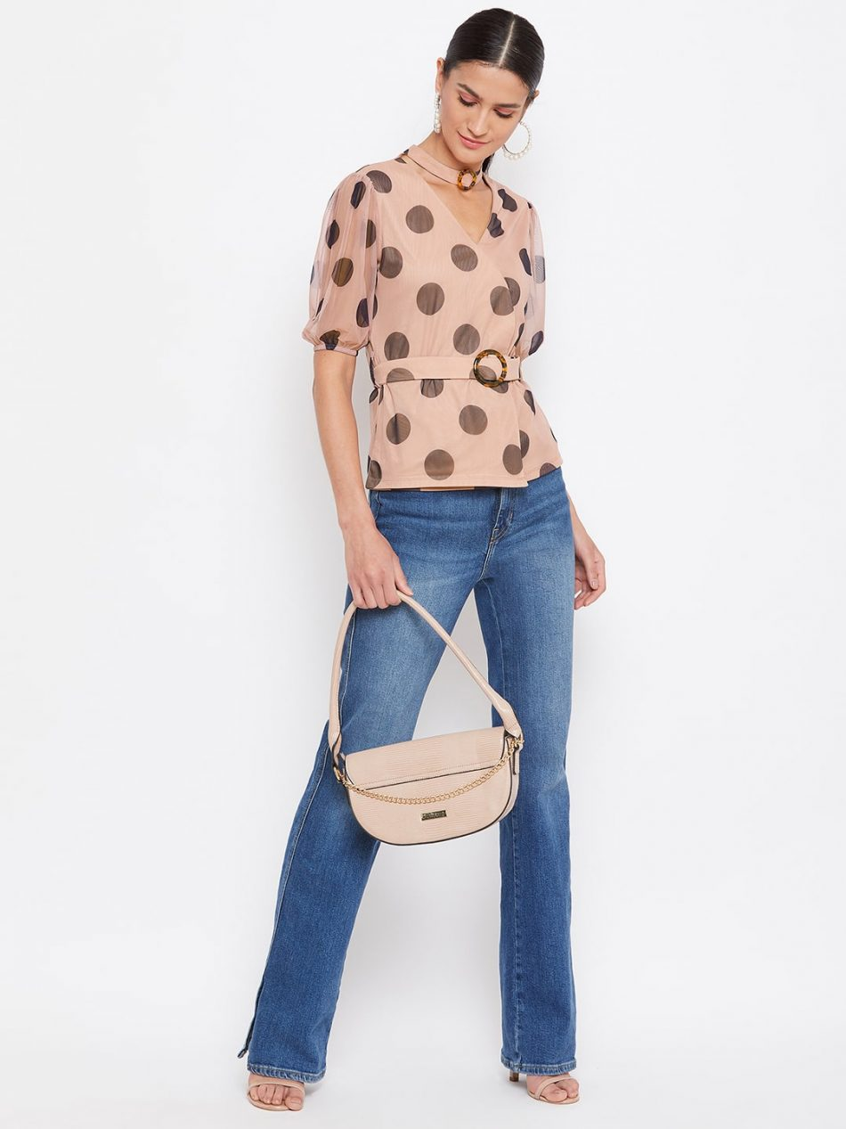 Buy TAN Color Choker Neck Polka Top With Rings