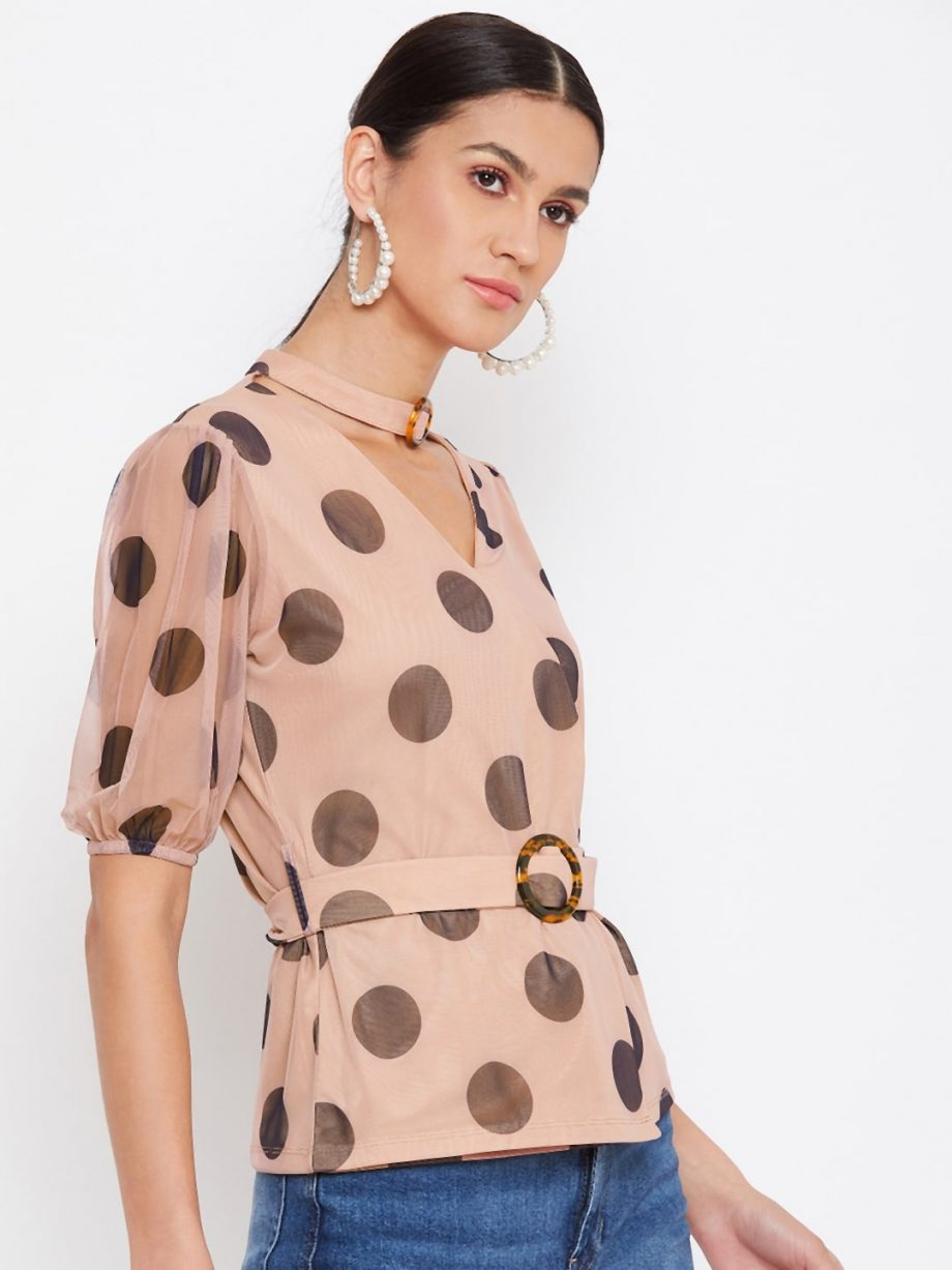 Purchase TAN Color Choker Neck Polka Top With Rings