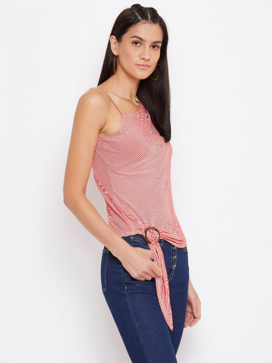 Shop Red Color Side Buckle Pinstripe One Off-shoulder Top