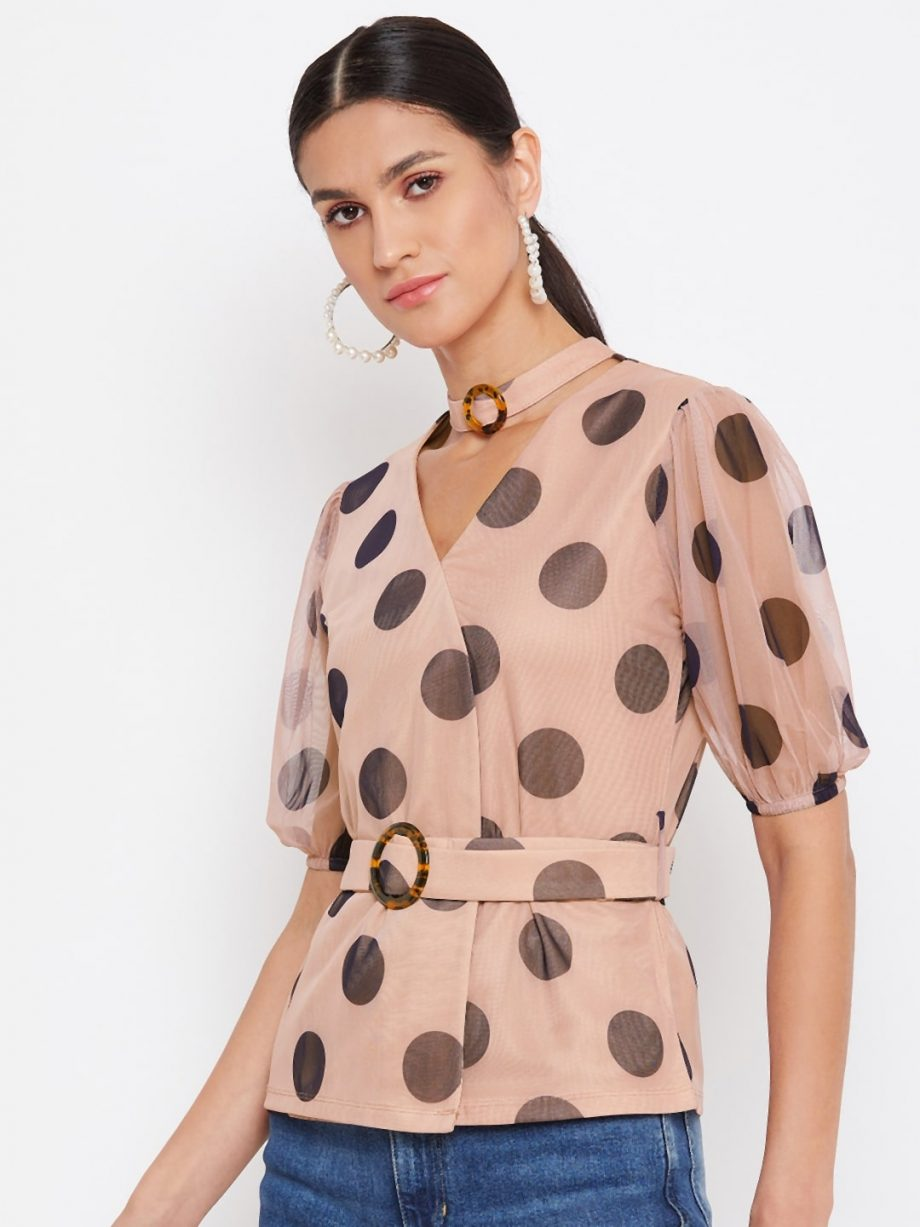 Shop TAN Color Choker Neck Polka Top With Rings