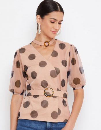 TAN Color Choker Neck Polka Top With Rings