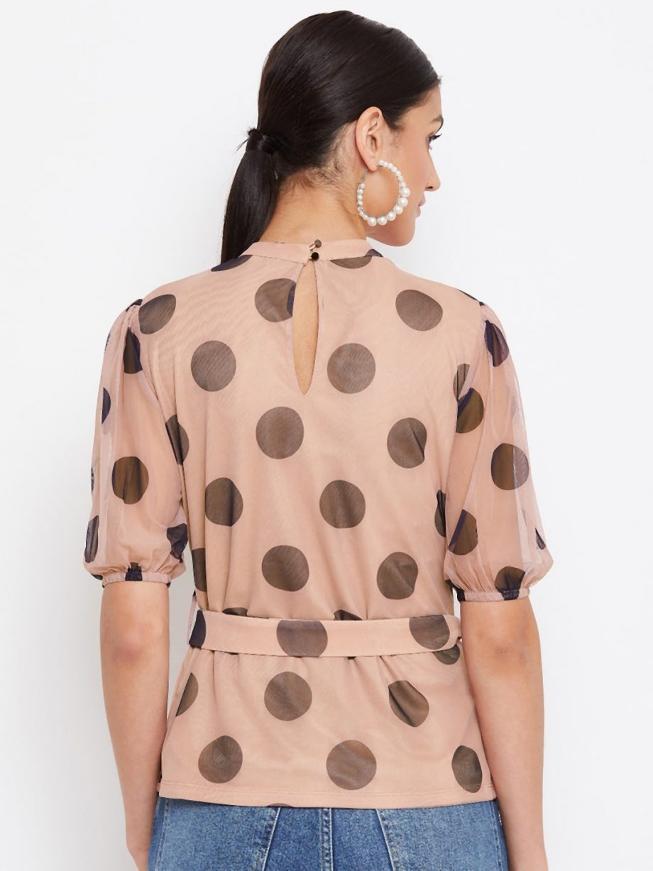 Women TAN Color Choker Neck Polka Top With Rings