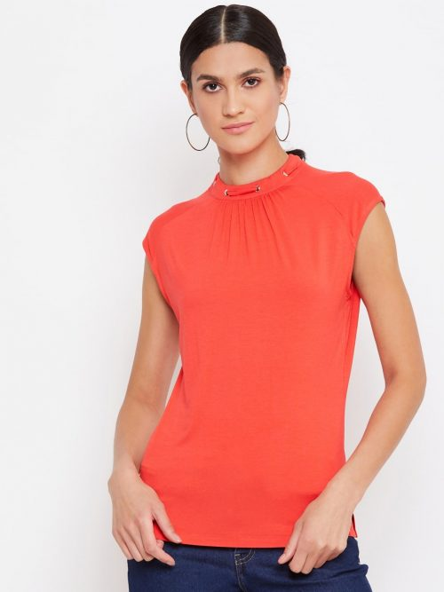 orange grommet detail women top