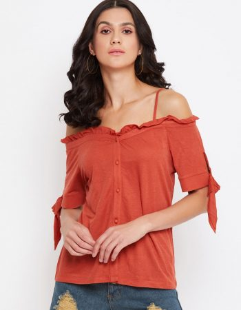 Ruffle Rust Color Bardot Top at Affordable Price