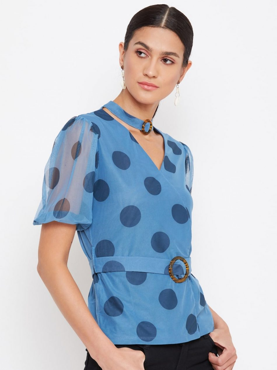 Affordable Blue Color Choker Neck Polka Top With Rings