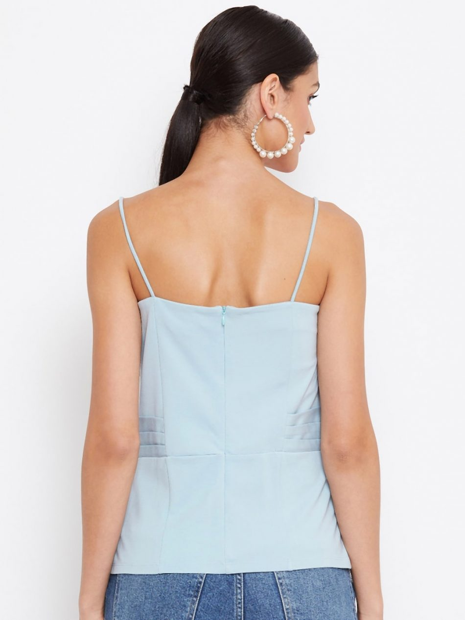 Aqua Color Waist Pleated Cami For Women Online