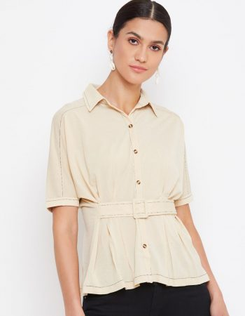 Beige Color Contrast Detail With Front Button Top for Women