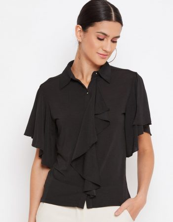 Black Color Crop Shirt With Draped Ruffle